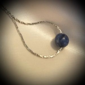 Sodalite Gem on Stainless Steel Necklace
